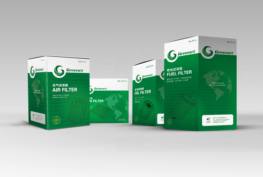 Gernnet 汽车滤清器包装设计-上海汽车配件包装设计公司