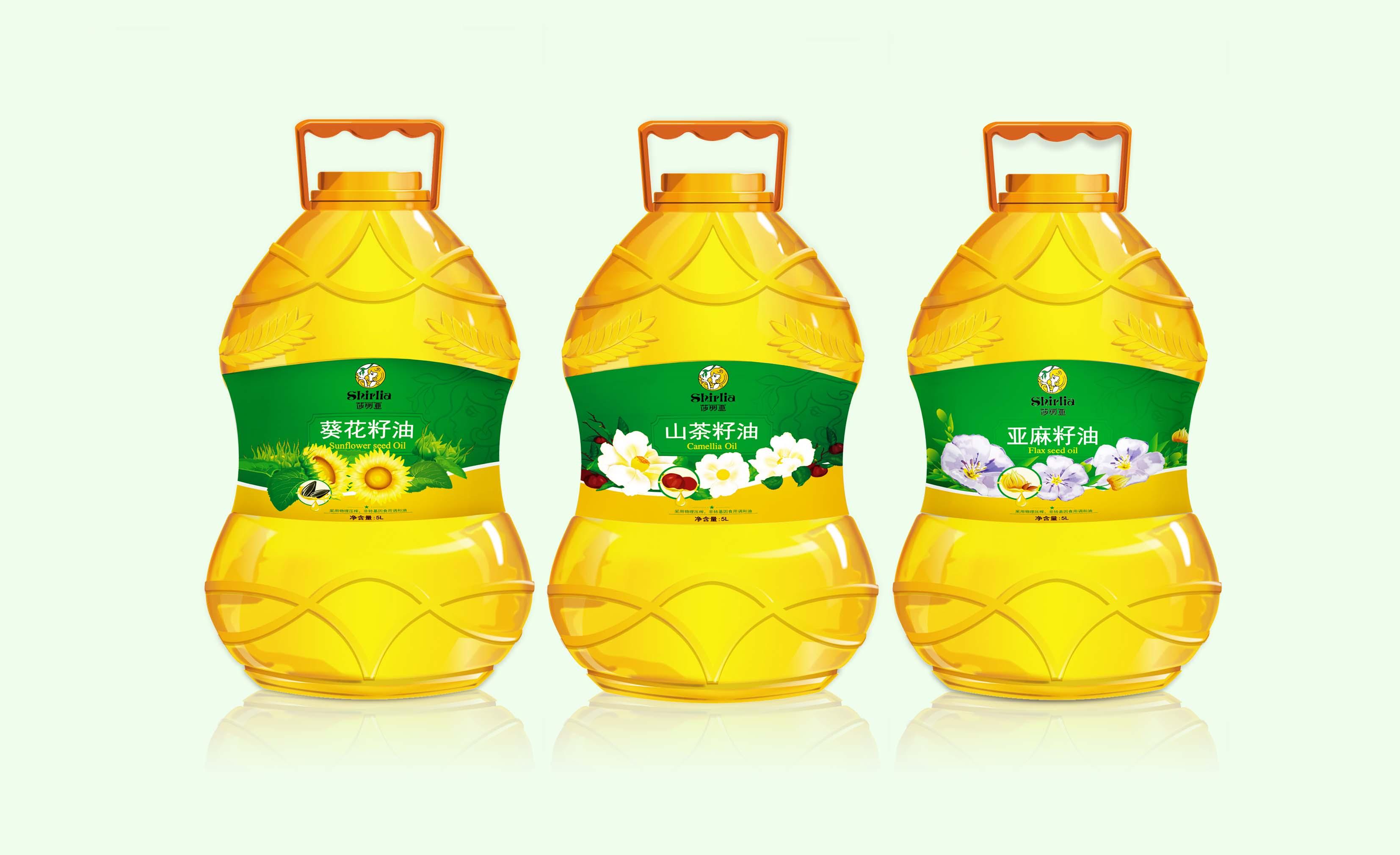 Shirlia 莎丽亚食用油瓶形设计山茶油亚麻籽油葡萄籽包装设计礼盒包装设计-上海包装设计公司