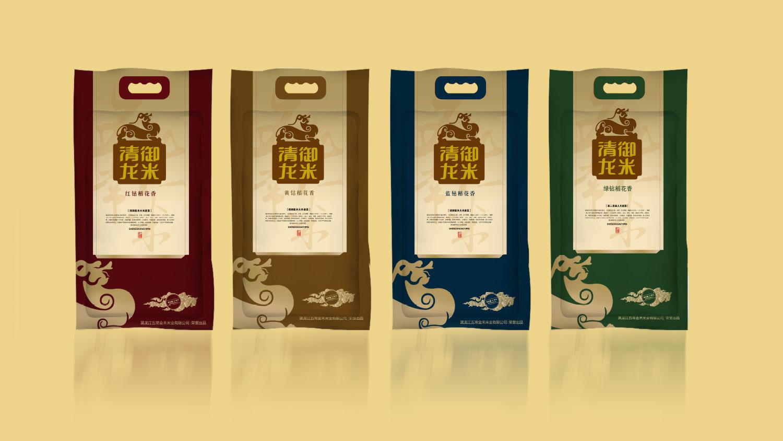 清御龙米五常大米品牌logo设计包装设计