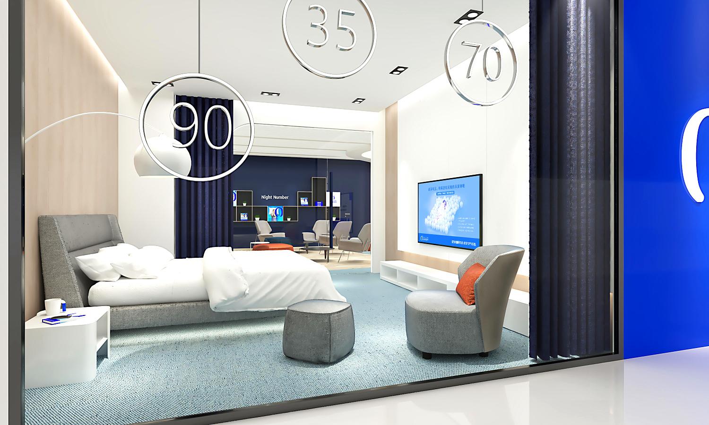安睡号码智能数字调节床垫SI连锁专卖店店铺设计